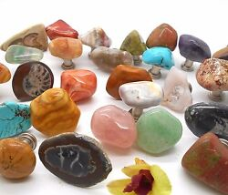 24 Assorted Polished Stone Cabinet Knobs And Drawer Pulls