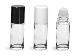 5 Ml Drum Roll On Roll On Plain Glass Bottle With Housing Ball And White Caps