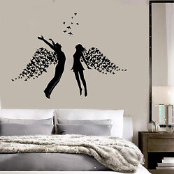 Vinyl Wall Decal Love Couple Romance Wings Bedroom Stickers ig3793