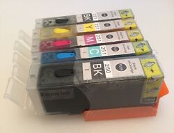 5 X Edible Ink Cartridge Pgi-250 Cli-251 For Canon Pixma Mg5520 Mg6620 Mx922