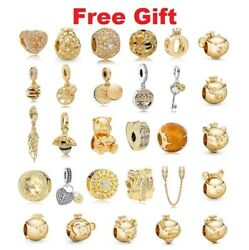 925 Sterling Silver Rose Sparkle And Color Shine Gold Charms For Charm Dangle New