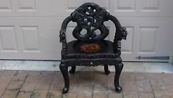 Antique 19c Japanese Wood Relief Dragon And Clouds Motif Carved Armchair