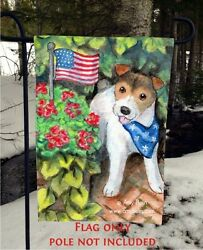 JACK RUSSELL TERRIER PROUD AMERICAN 12 by 18 GARDEN FLAG no pole by Amy Bolin