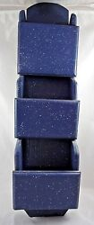 Vintage Blue White Speckle 3 Slot Mail Organizer Wooden Wall Mounted Great Shape