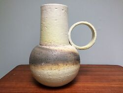 Rare Signed Fantoni Raymour Pottery Pitcher Vase Ring Handle 11.5 High