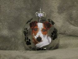 HAND MADE JACK RUSSELL TERRIER GLASS CHRISTMAS ORNAMENT  BALL
