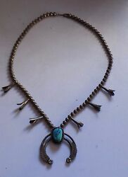 Antique Silver Native American Necklace Large With Blue Stone Very Old Stunning