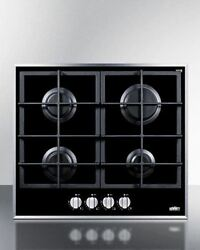Summit 4-burner Gas-on-glass Cooktop And Cast Iron Grates