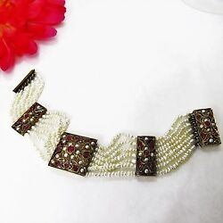 Antique 10 K Yellow Gold Seed Pearls And Ruby Multi Strand Bracelet Handmade
