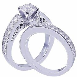14k White Gold Round Cut Diamond Engagement Ring And Band Antique Deco 1.35ctw