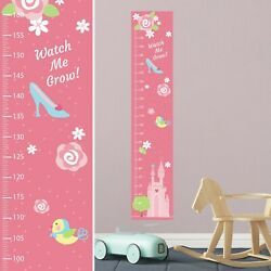Personalised FABRIC Height Growth Chart Pink Princess Castle Design Add Name DOB