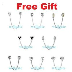 Genuine 925 Sterling Silver PAN Safety Chains Love Charms for Charm Bracelet NEW