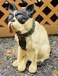 BOSTON TERRIER  FRENCH BULLDOG Plaster Statue GLASS EYES 17