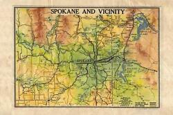 116 Spokane And Vicinity Wa Vintage Historic Antique Map Painting Poster Print