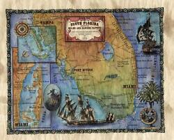 87 South Florida Vintage Historic Antique Map Painting Poster Print
