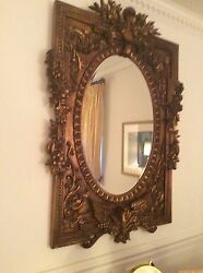 Antique Ornate Gold Leaf Wall Mirror 60 In X 40 In Beautiful Condition.