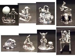 Michael Ricker Pewter Sculpture 8pc Lot Easter Rabbit Limited Edition Art Look
