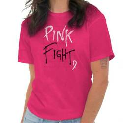 Pink Fight Ribbon Cure Breast Cancer Awareness BCA Gift Ladies T Shirt Tee