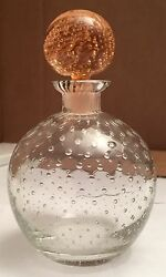 Vintage Clear Round Czechoslovakian Perfume Bottle W/pink Round Stopper