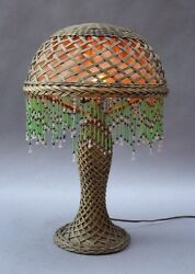 1910 Antique Arts And Crafts Wicker Table Lamp Vintage Light Craftsman 9875