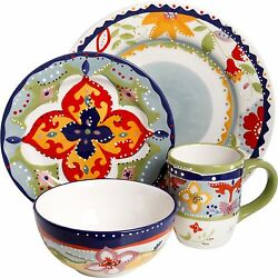 Fiore Olivetti Ceramic Dinnerware Dinner Set Abstract Floral Pattern Great Gift