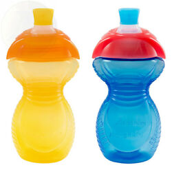 Munchkin Click Lock Bite Proof Sippy Cup YellowBlue 9 Ounce 2 Count