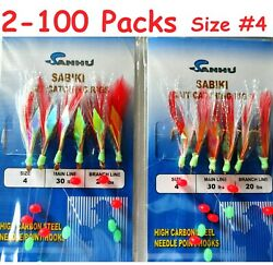 2 -100 Packs Size 4 Sabiki Bait Rigs 6 Hooks Red Feather Saltwater Fishing Lures