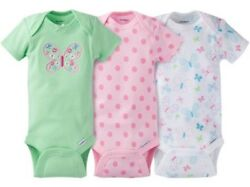 Gerber Baby Girl Onesies Bodysuits Variety 3-pack Baby Shower Gift - Butterfly