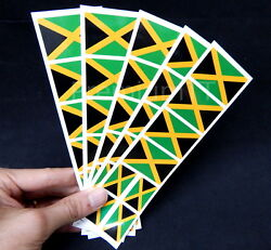 40 Removable Stickers: Jamaica Flag Jamaican Party Favors Decals