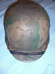 German Wwii M35 Helmet - Custom Camo And Wire - Reproduction Et68 Size 60cm Liner