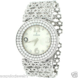 CORUM Swiss Made Quartz 18K White Gold Ladies All Diamond Watch