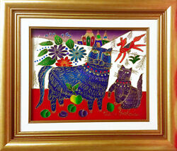 Yuri Gorbachev Original Painting ,,blue Cat,,oil On Canvas,gold, With C.o.a.