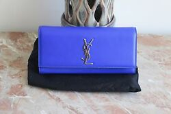 YSL Women Blue Clutch