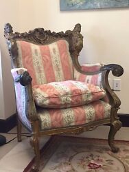 Antique Art Nouveau Gold Leaf Carved Armchair Once Owned By Arthur Godfrey