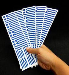 40 Removable Stickers: Greek Flag Greece Party Favors Decals