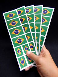 40 Removable Stickers: Brazil Brasil Flag Brazilian Party Favors Decals