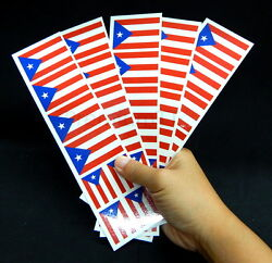 40 Removable Stickers: Puerto Rico Flag: Party Favors Decals