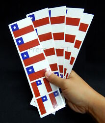 40 Removable Stickers: Chile Flag Chilean Party Favors Decals