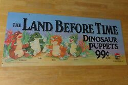 The Land Before Time Dinosaur Hand Puppet Toys Cardboard Poster Sign Pizza Hut