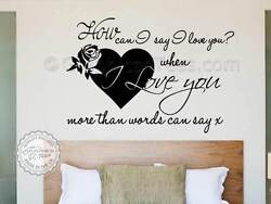 Bedroom Wall Sticker Romantic Love Quote I love You Decor Decal with Heart Rose