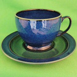Metz Denby Breakfast Blue And Green Cup And Saucer 31/8 Tall Ovenware Made England