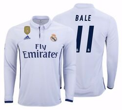 Adidas Gareth Bale Real Madrid Long Sleeve Home Jersey 2016/17 Fifa Patch