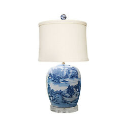 Blue And White Blue Willow Porcelain Ginger Jar Table Lamp 27