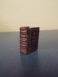 1771 Miniature Thumb Bible - London- 14 Plates- Red Morocco Leather
