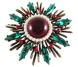 Vintage Weiss Cabochon Faux Pearls Starburst Brooch Snowflake Large Pin