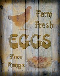 Rustic Eggs Sign Print Farm Art Chicken Photo Print Kitchen Wall Picture Matted