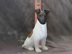 SMOOTH HAIR FOX TERRIER PLASTER DOG STATUE HAND CAST AND PAINTED BY T.C. SCHOCH