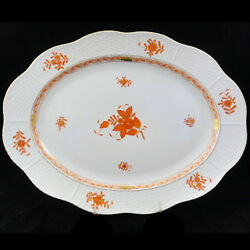 Herend Chinese Bouquet Rust Platter Large 14.25 New Never Used Made In Hungary