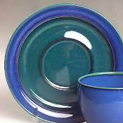 Metz By Denby Breakfast Saucer 7.25 Diameter Blue And Green Made In England