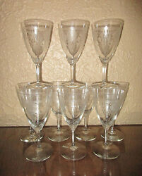Heisey 439 Pied Piper Etch 3350 Wabash 10 Oz. Footed Water Goblets Set Of 10
